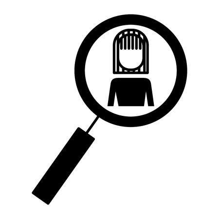 ビジネスウーマンアイコンベクトルイラスト付き拡大鏡  イラスト・ベクター素材