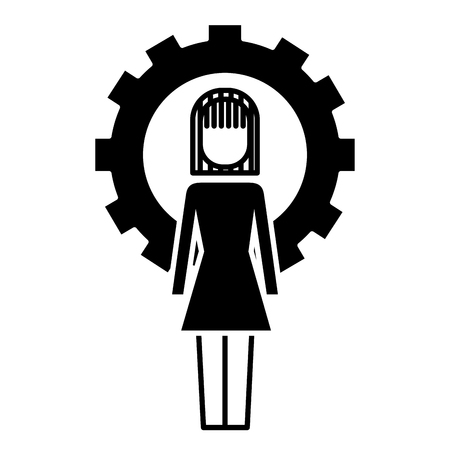 Businesswoman work solution success gear vector illustration design