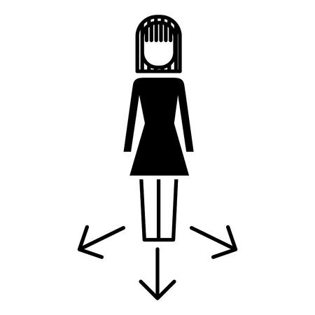 Businesswoman options arrows direction choise vector illustration Banque d'images - 92283032