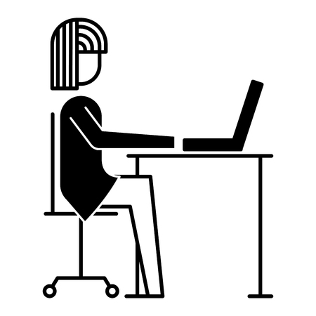 Businesswoman sitting desk laptop working vector illustration style
