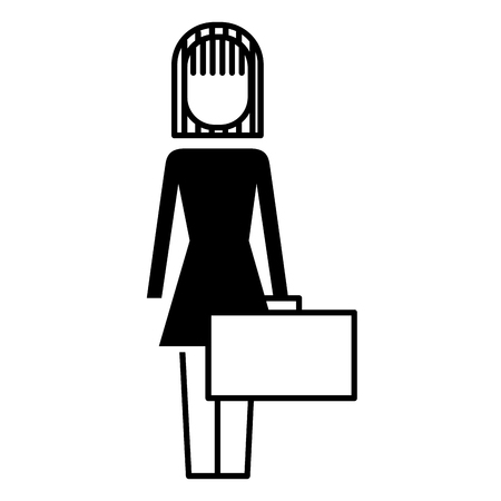 Businesswoman holding briefcase standing character vector illustration 向量圖像