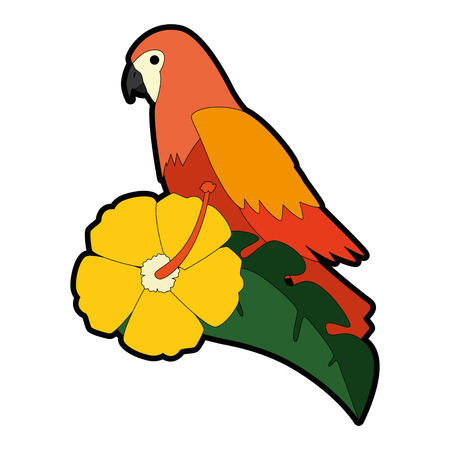Cockatoo exotic bird with flower vector illustration design
