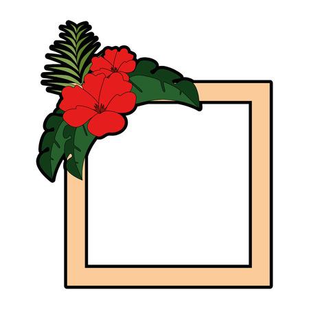 エキゾチックで熱帯の花フレームベクトルイラストデザイン 写真素材 - 92283324