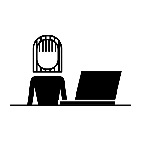 businesswoman with laptop and desk image vector illustration design