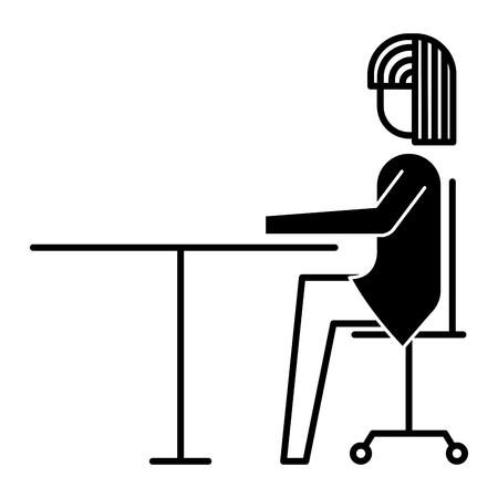 椅子デスクオフィスワークベクトルイラストデザインに座るビジネスウーマン