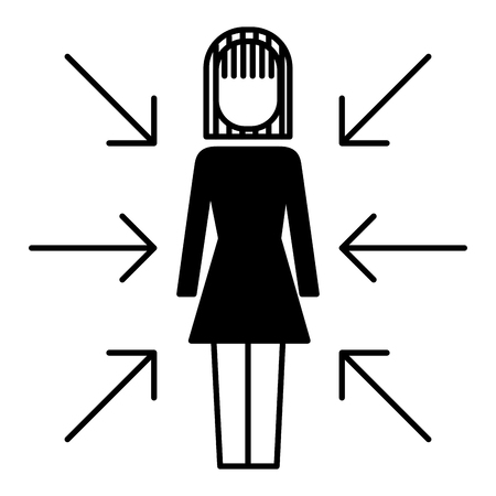 Businesswoman standing with arrows conflict of interest vector illustration