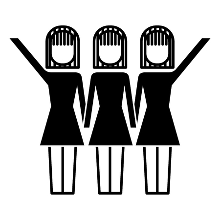 Three women holding hands,  successful teamwork vector illustration Illustration