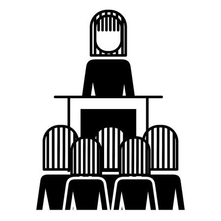 vergadering mensen uit het bedrijfsleven baas podium presentatie vectorillustratie Stock Illustratie