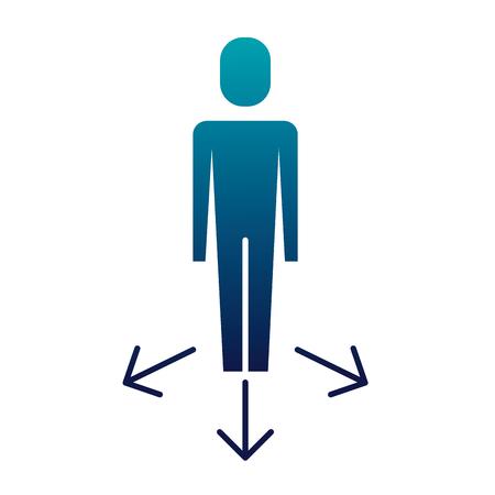 businessman options arrows direction choise vector illustration  blue image Banque d'images - 92284168