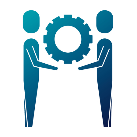 two businessmen holding gear teamwork concept vector illustration   blue image