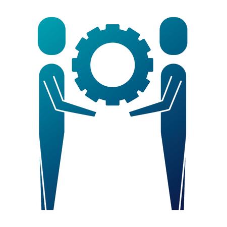 twee zakenlieden houden versnelling teamwerk concept vector illustratie blauw beeld Stock Illustratie