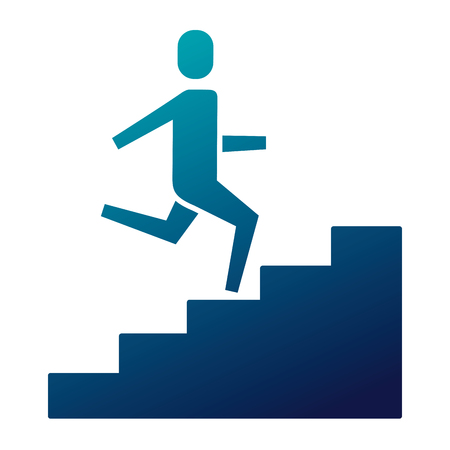 businessman climbing stairs up success business vector illustration   blue image