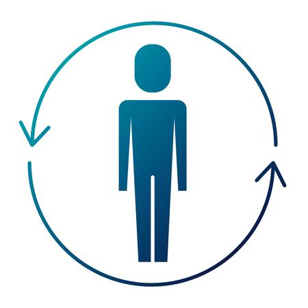ソリューションベクトルイラスト青い画像の周りに矢印を持つビジネスマン  イラスト・ベクター素材