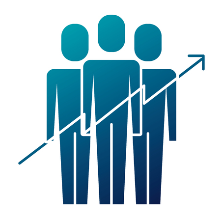 Teamwork concept, people with growth arrow vector illustration 矢量图像