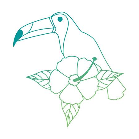 Exotische vogel met ontwerp van de bloem het vectorillustratie