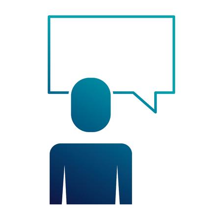 businessman and speak bubble talk message vector illustration blue image 向量圖像