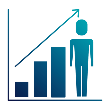 businessman with diagram arrow growth finance vector illustration blue image