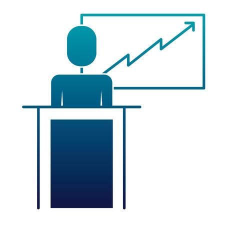 businessman podium presentation board diagram vector illustration blue image Ilustração