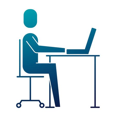Homme d'affaires assis bureau ordinateur portable travaillant vector illustration image bleue Banque d'images - 92284215