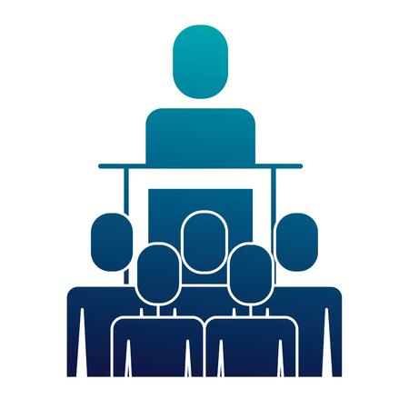 meeting business people boss podium presentation vector illustration  blue image Illusztráció