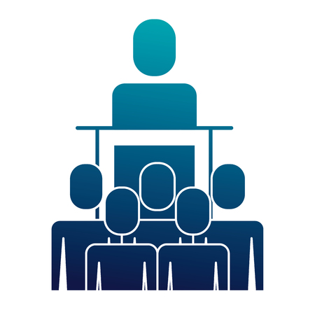 meeting business people boss podium presentation vector illustration  blue image Illustration