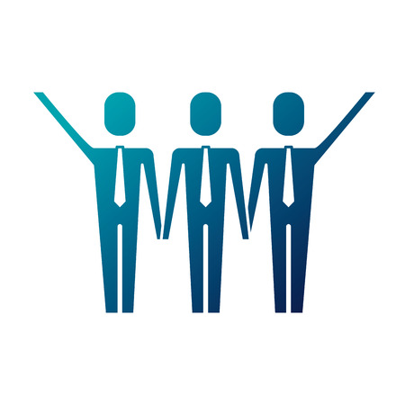 three men holding hands teamwork successful vector illustration blue image