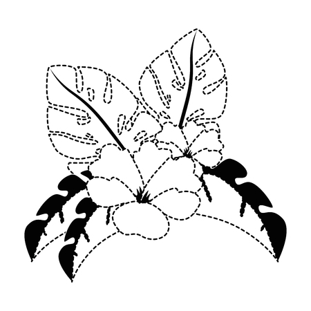이국적인 열 대 꽃 벡터 일러스트 디자인 스톡 콘텐츠 - 92284264