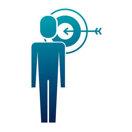 ターガート矢印ソリューションマーケティングベクトルイラストを持つビジネスマン  イラスト・ベクター素材