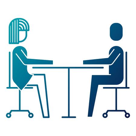 woman and man business sitting communication team vector illustration Illustration