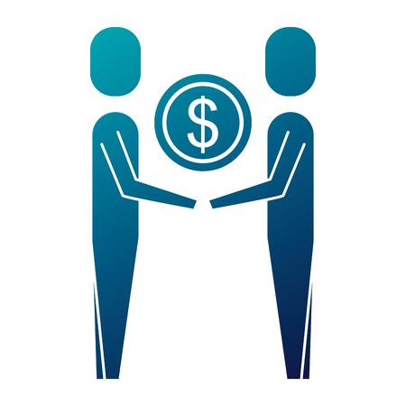 mensen uit het bedrijfsleven houden geld munt dollar team vector illustratie Stock Illustratie
