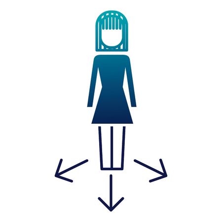 businesswoman options arrows direction choise vector illustration