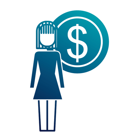 businesswoman dollar coin money symbol vector illustration