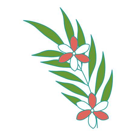 分離エキゾチックな熱帯の花やヤシの葉ベクトル イラスト デザイン 写真素材 - 92329701