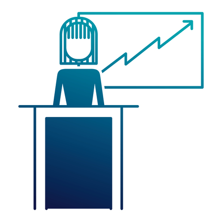 zakenvrouw podium presentatie bord diagram vector illustratie