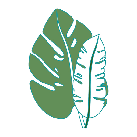 A tropical palm leaves icon vector illustration design