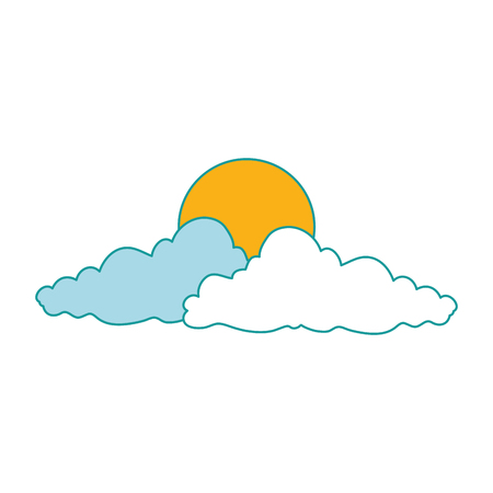Hand drawn colored natural cloud with sun vector illustration design