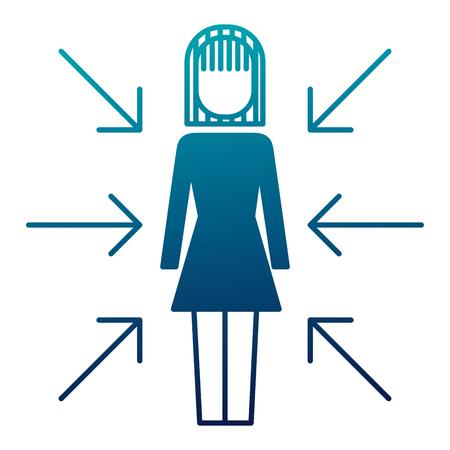 zakenvrouw permanent met pijlen belangenconflict vector illustratie afbeelding Stock Illustratie