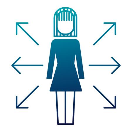 businesswoman options arrows direction choise vector illustration
