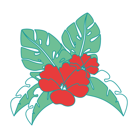 격리 된 이국적인 열 대 꽃 벡터 일러스트 디자인