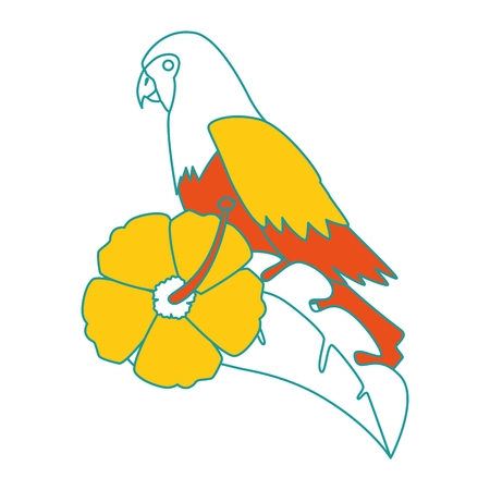 A cockatoo exotic bird with flower vector illustration design Çizim