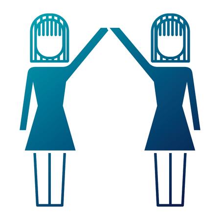 businesswomen with raised arms triumph success vector illustration Ilustrace