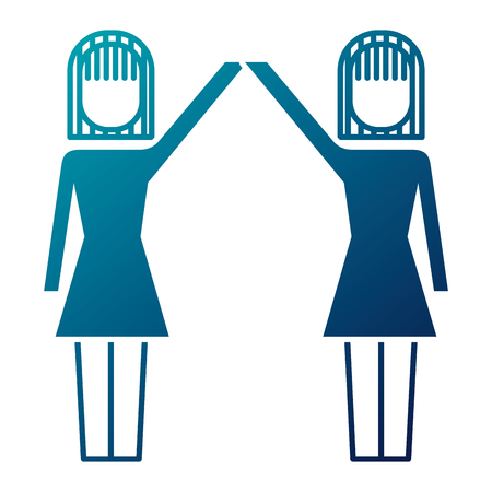 businesswomen with raised arms triumph success vector illustration Illustration