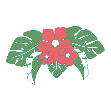 이국적인 열 대 꽃 벡터 일러스트 디자인 일러스트