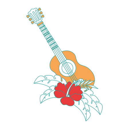 guitar instrument with flowers vector illustration design