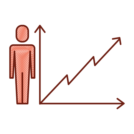 businessman with business graph growth arrow vector illustration