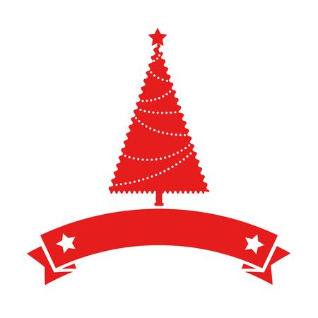 リボンフレームベクトルイラストデザインのクリスマスツリー