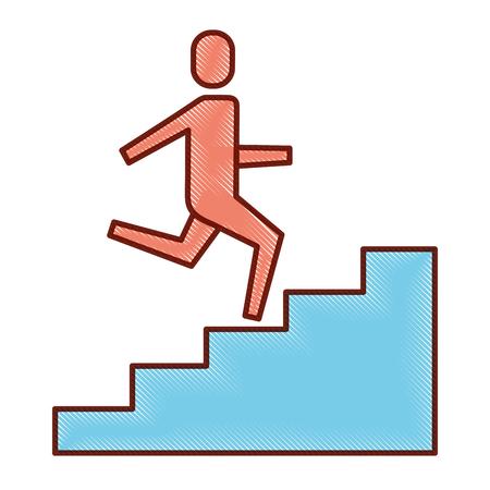 homme d'affaires monter les escaliers jusqu'à l'illustration vectorielle succès entreprise