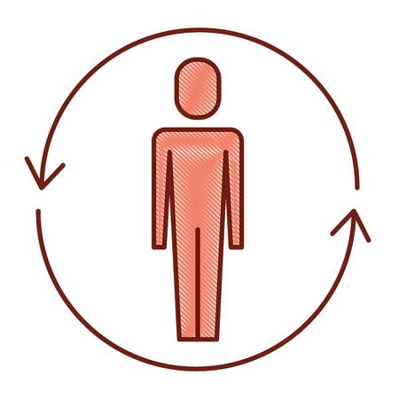 ソリューションベクトルのイラストの周りに矢印を持つビジネスマン  イラスト・ベクター素材