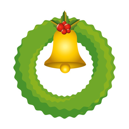 christmas crown with bell decorative icon vector illustration design