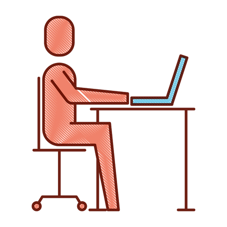 Man sitting while working on laptop illustration.